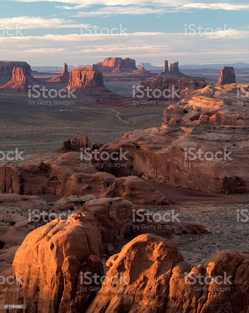 Monument Valley Hunt's Mesa stock photo