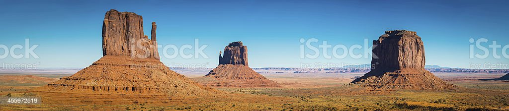 Monument Valley iconic Western landscape panorama The Mittens Utah USA stock photo