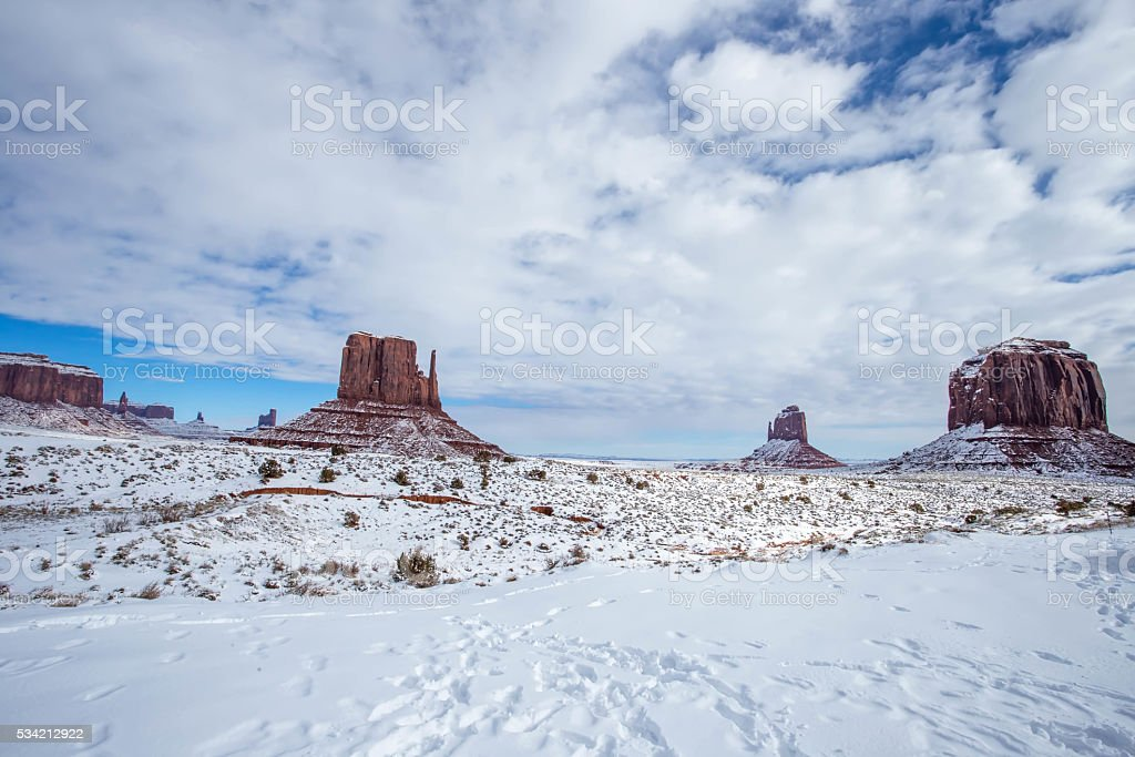 Monument Valley in Winter stock photo