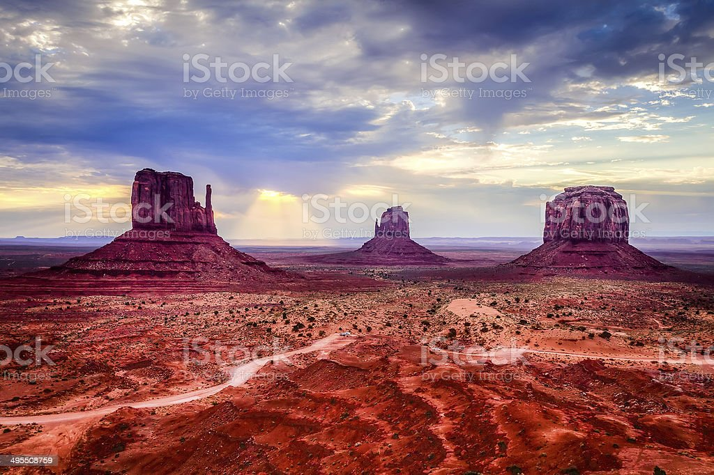Monument Valley Landscape at Sunset, USA Landmark stock photo