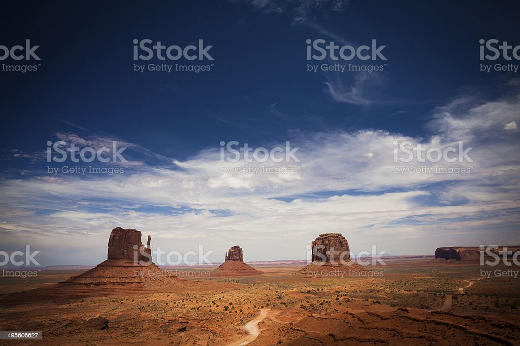 Monument Valley Landscape with Mesa Rocks, USA Landmark royalty-free stock photo