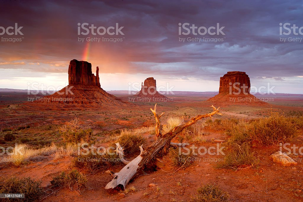 Monument Valley Navajo Tribal Park Rainbow and Storm Clouds stock photo