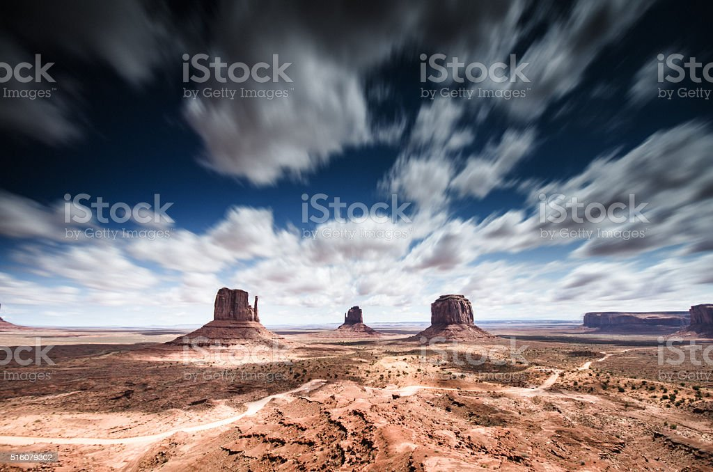 Monument valley panoramic view stock photo