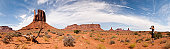 Monument valley panoramic view with women observat