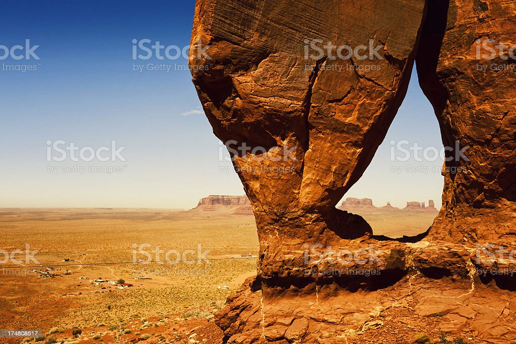 Monument Valley Through Teardrop Arch royalty-free stock photo