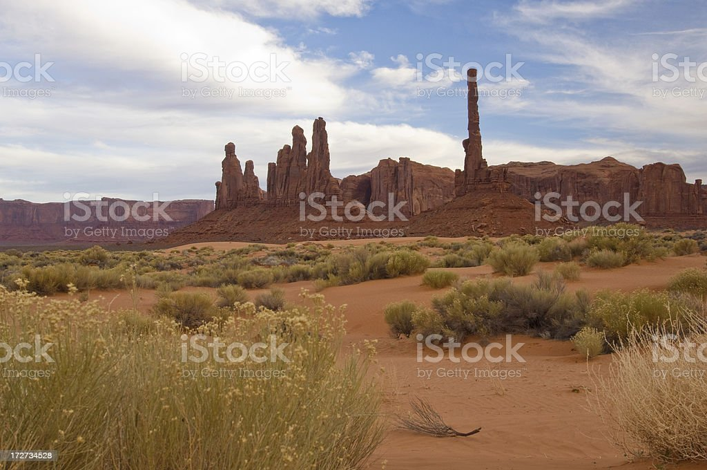 Monument Valley, Totem Poles stock photo