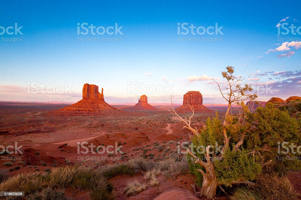 Monument Valley Utah after Sunset stock photo
