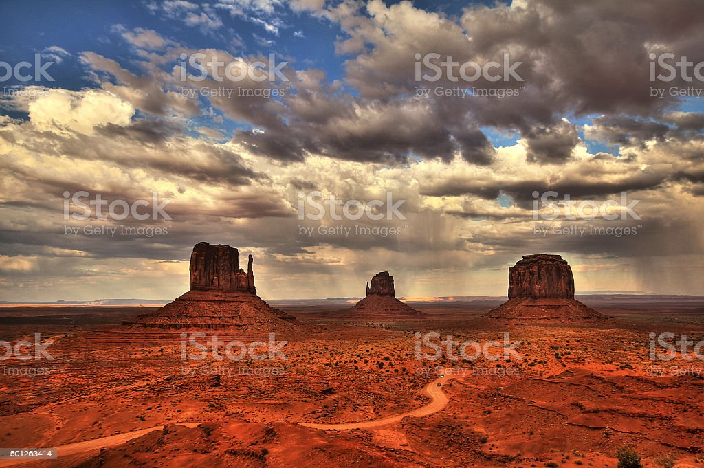 Monument Valley view in the afternoon, cloudy sky, HDR stock photo