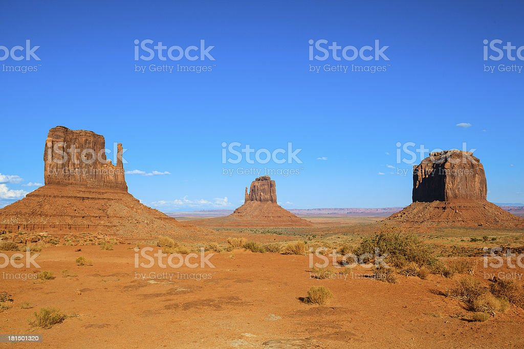 Monument Valley with blue sky royalty-free stock photo