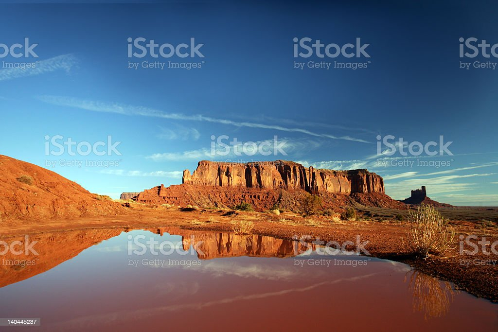 Monument valley with mountains royalty-free stock photo