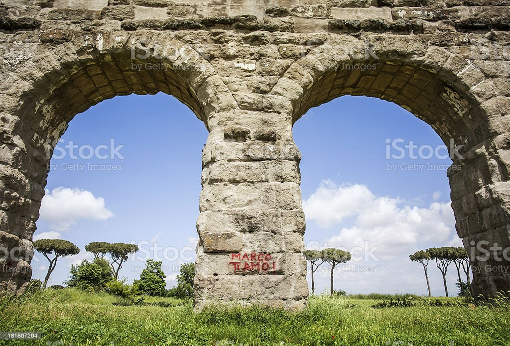 Monument vandalized in Rome stock photo