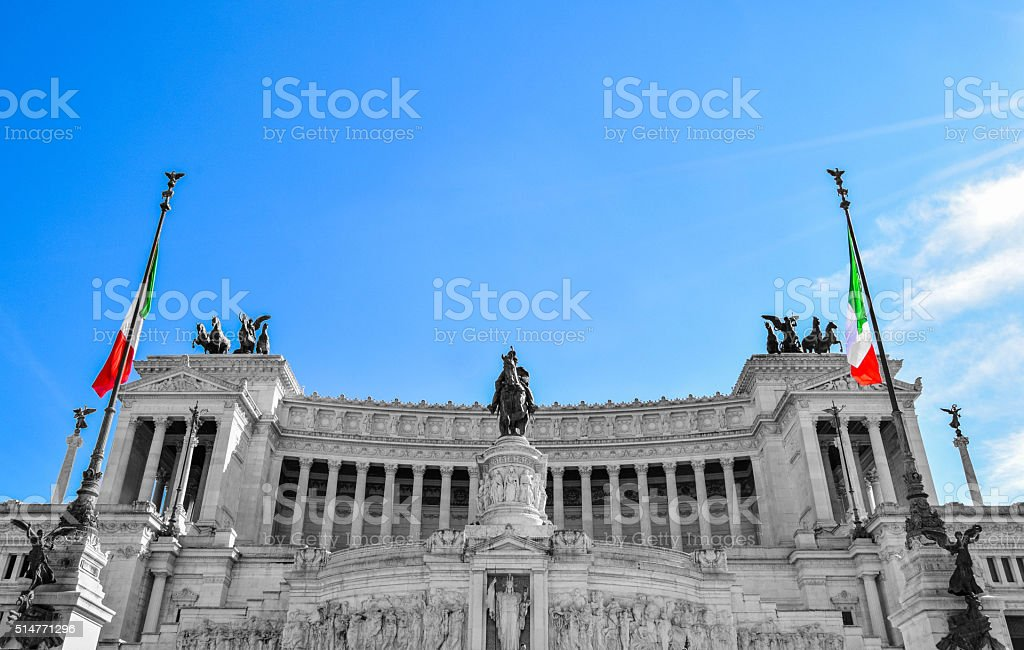 Monument Vittorio Emanuelle Rome Italy stock photo