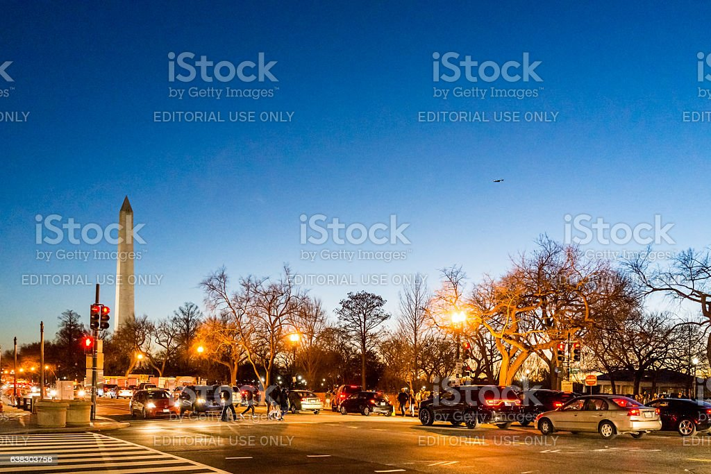 Monument with Pennsylvania avenue and 15t street during sunset stock photo