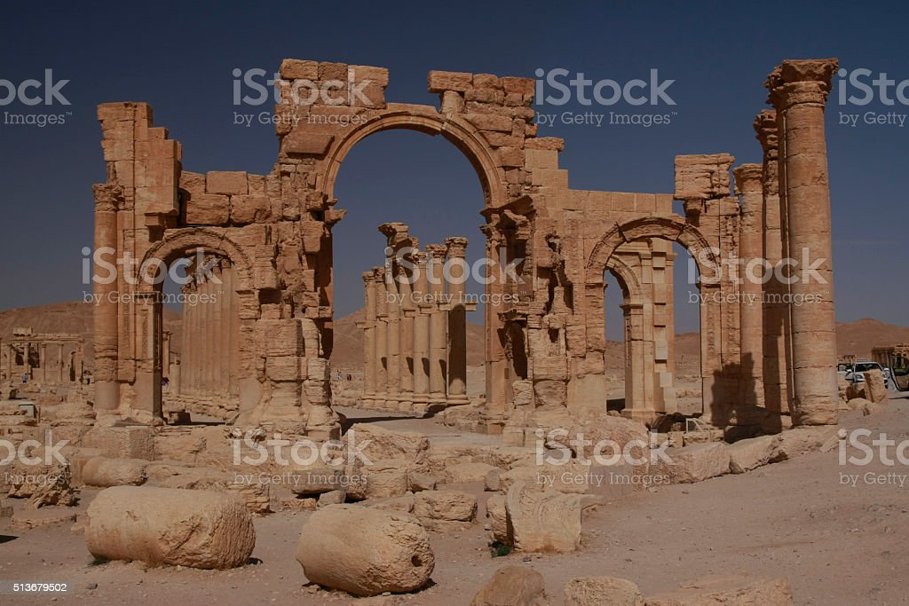 Monumental Arch of Palmyra stock photo