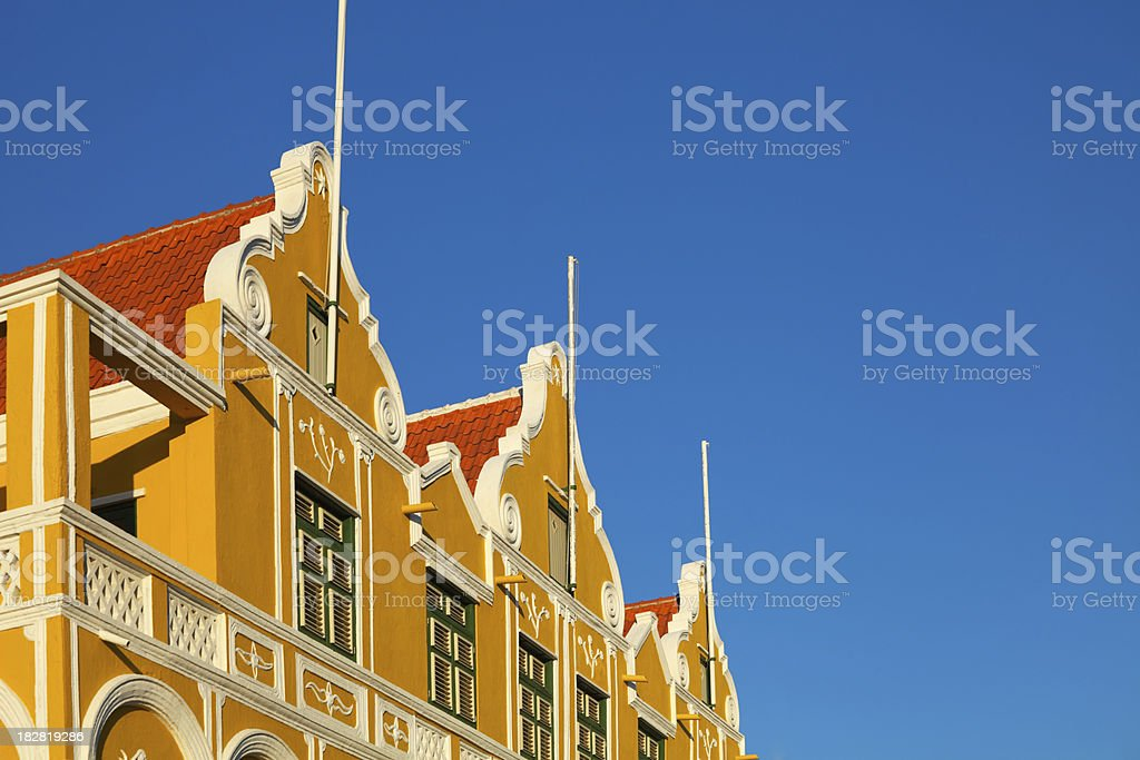 Monumental buildings at the waterfront of Willemstad, Curaçao royalty-free stock photo