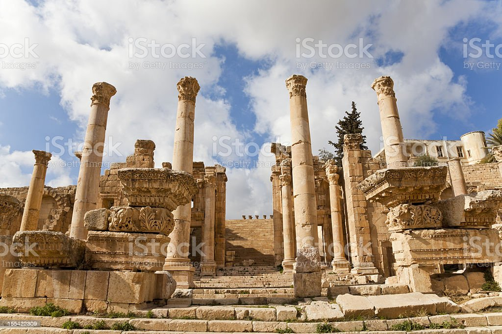 monumental gate leading to the temple of artemis stock photo