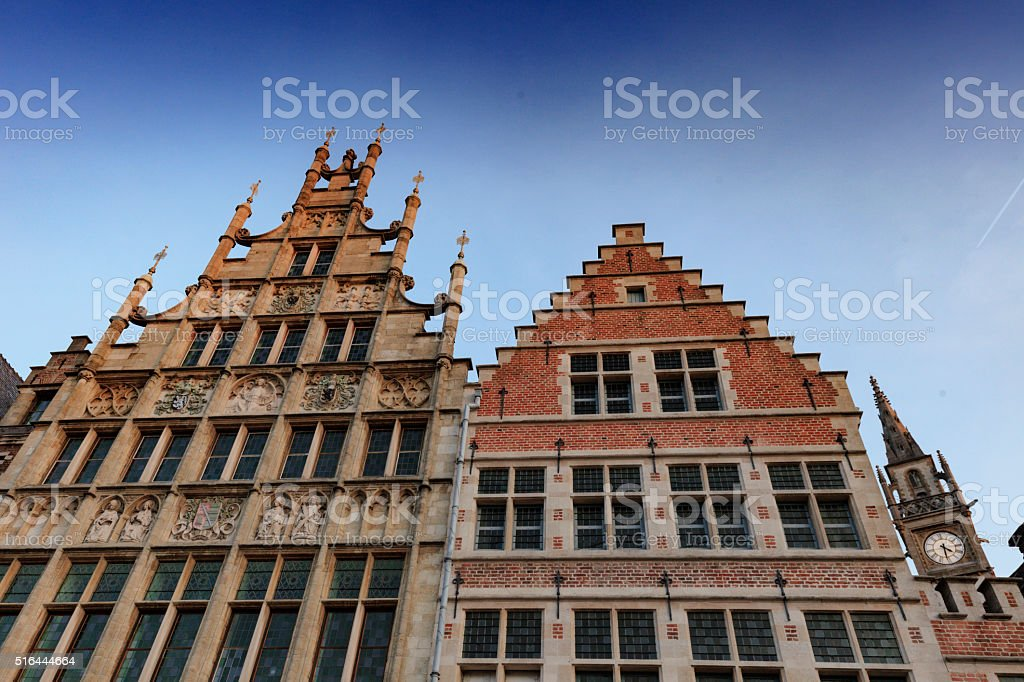 monumental houses along the old Graslei harbour in Ghent stock photo