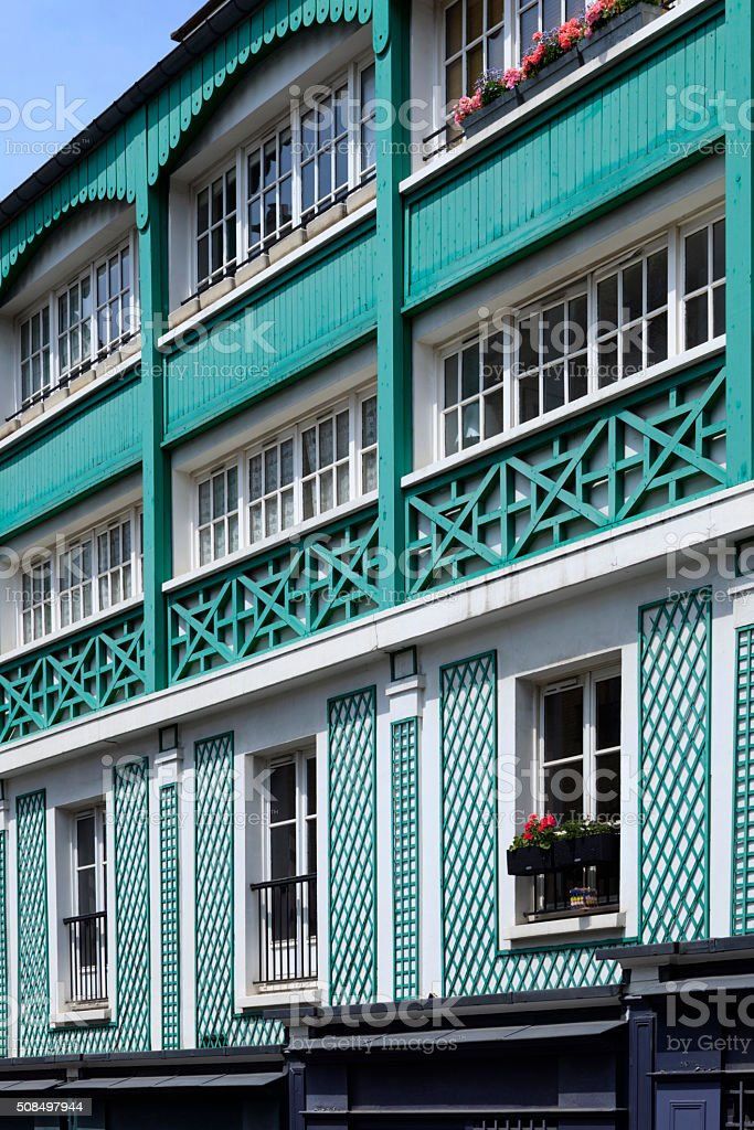 monumental houses at Rue Lepic in Paris stock photo