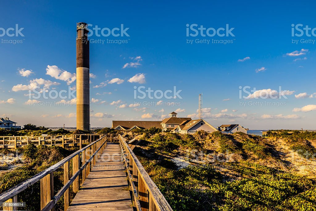 Monumental lighthouse in Oak Island stock photo