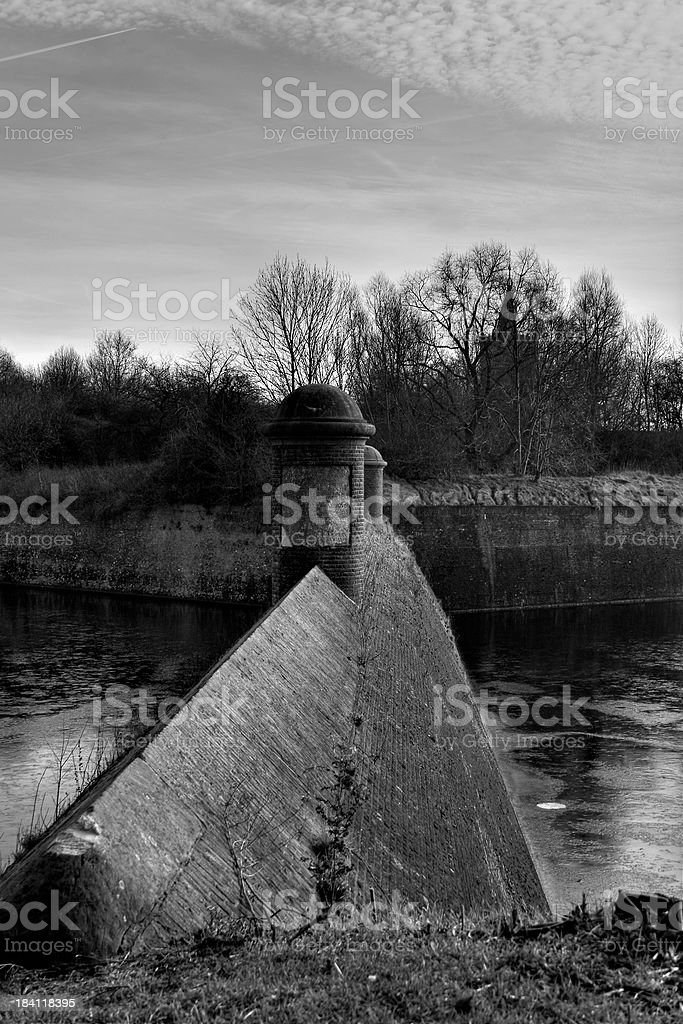 Monumental moat at Fort Naarden vesting stock photo
