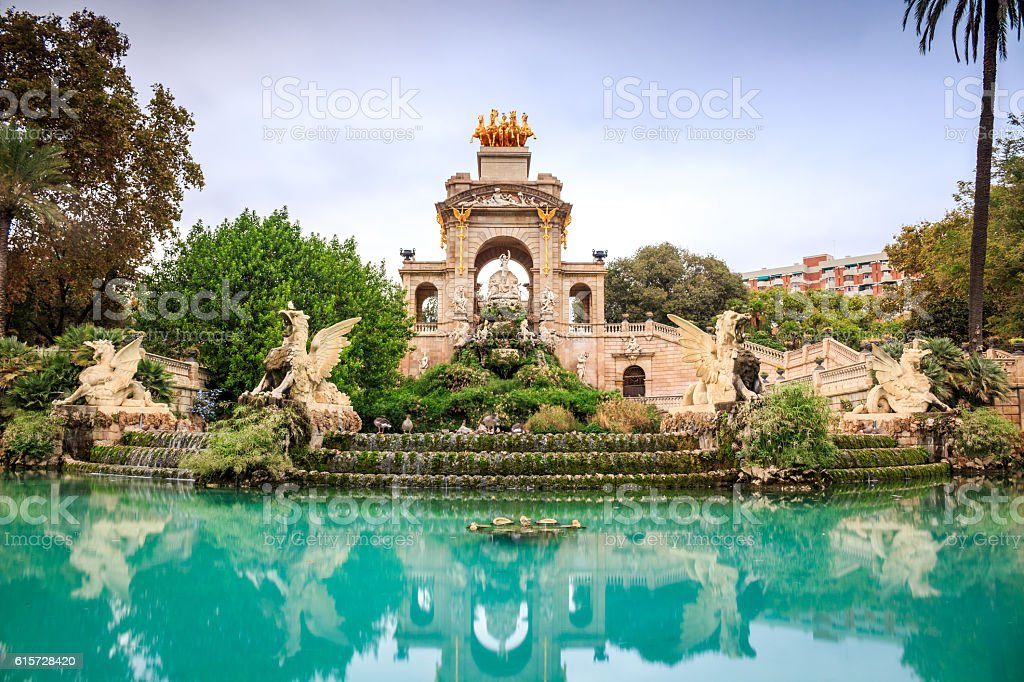 Cascada monumental, Barcelona, Spain stock photo