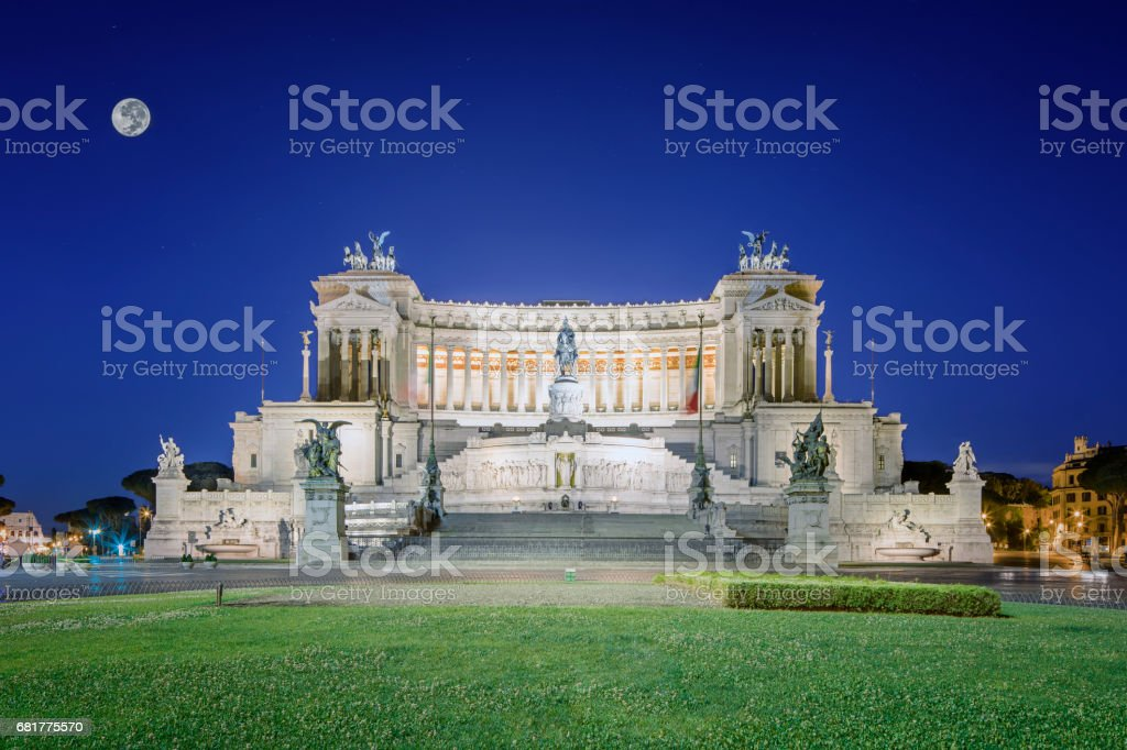 Monumento Nazionale a Vittorio Emanuele II at Dusk, Rome stock photo