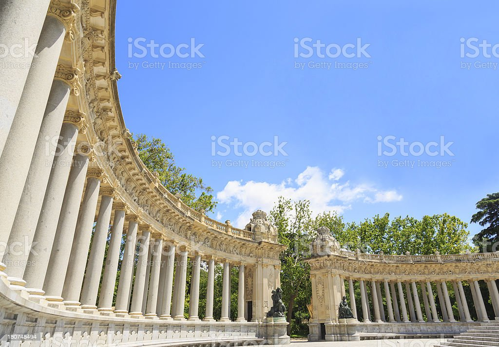 Monuments in the Retiro, Madrid. royalty-free stock photo