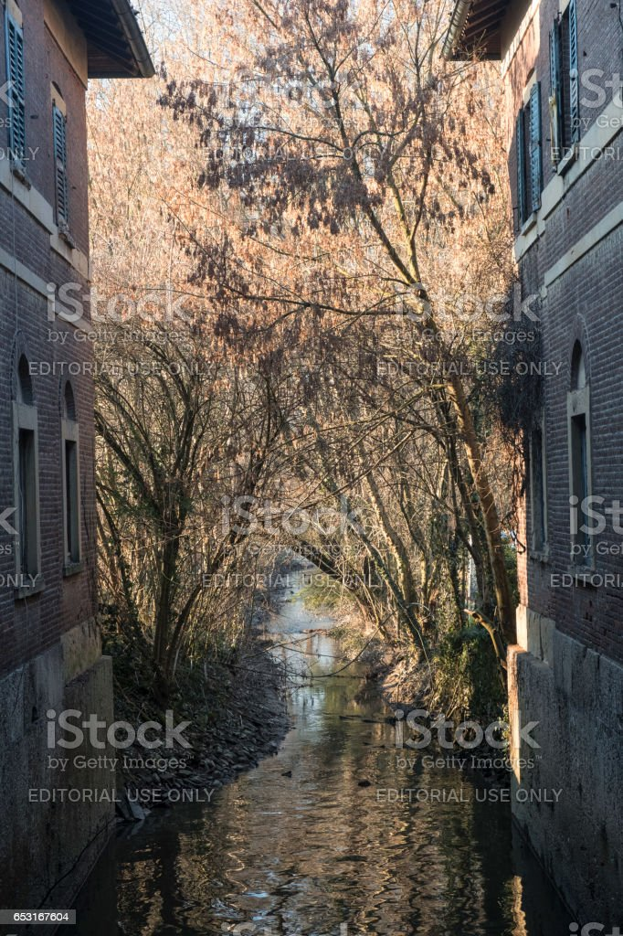 Monza park: old watermill stock photo