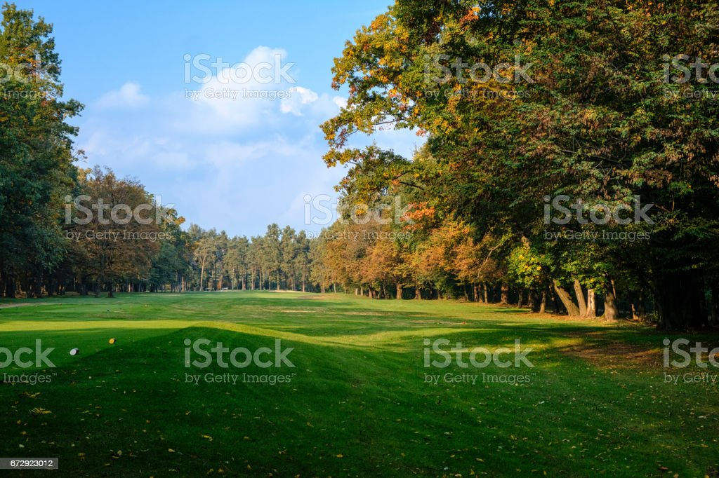 Monza (Italy):  the park at fall, golf course stock photo