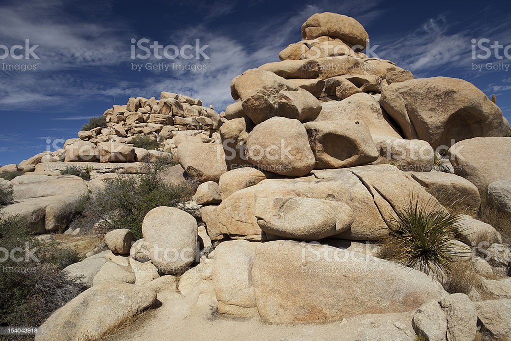 Monzogranite rocks, Joshua Tree National Park stock photo