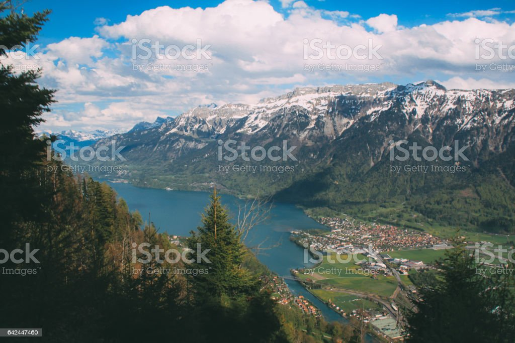 mood and tone Aerial view on Lungernsee lake near Luzern stock photo