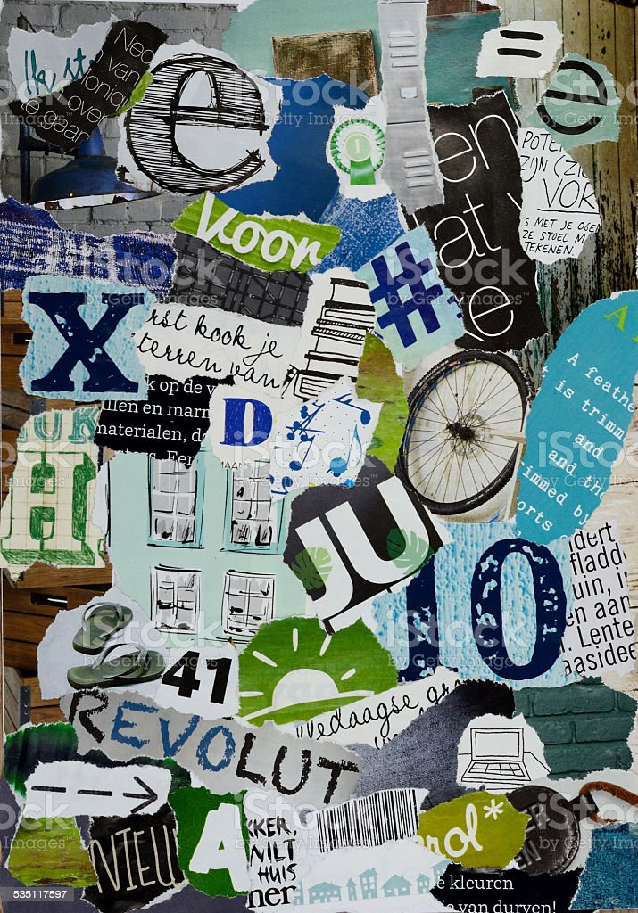 Mood board of magazines in blue green colors stock photo