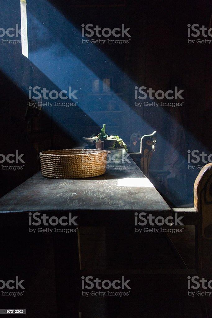 Moody Basket and God Rays stock photo