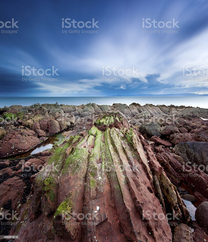 Moody Clouds, Portencross Scotland. stock photo