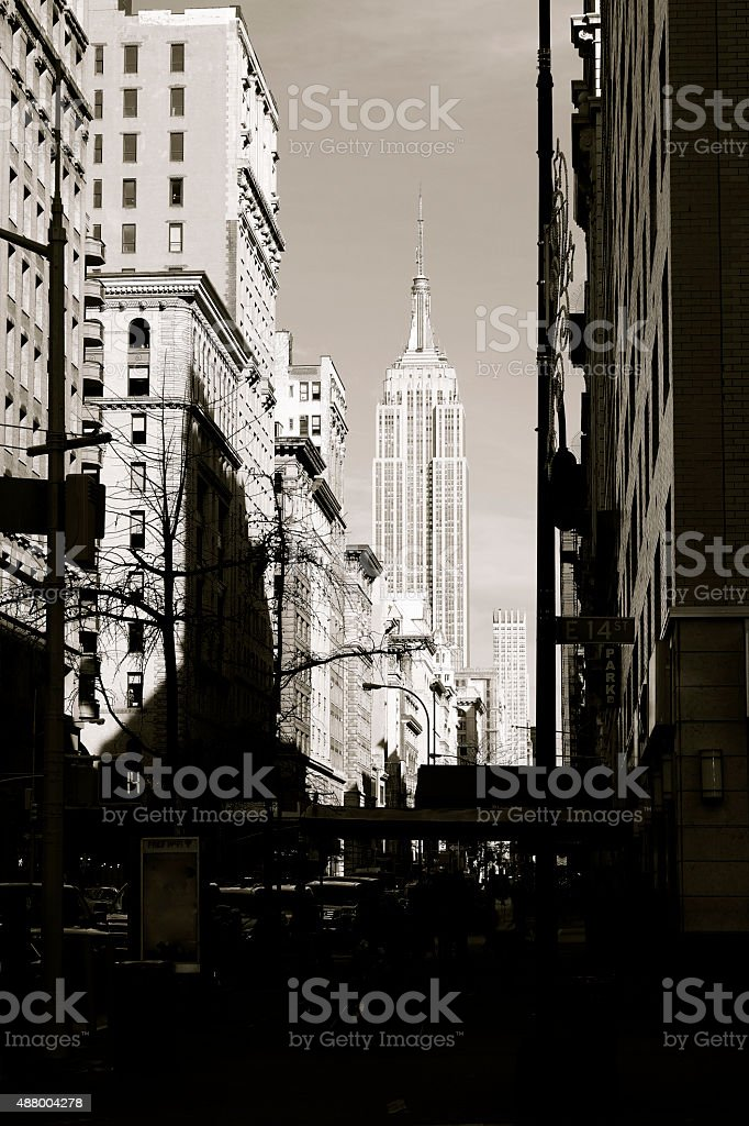 Moody Empire State Building stock photo