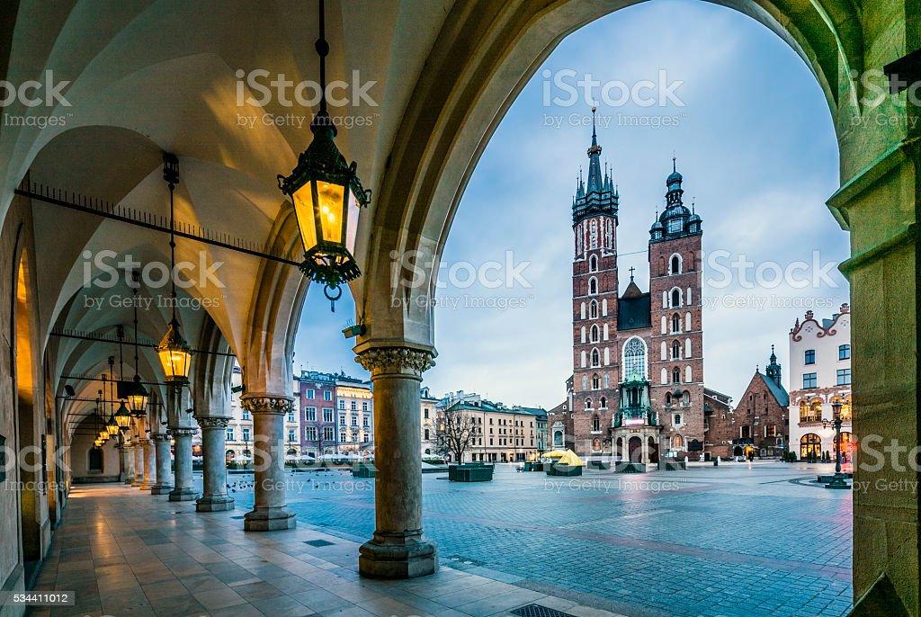 Moody Krakow market square, Poland, Europe stock photo