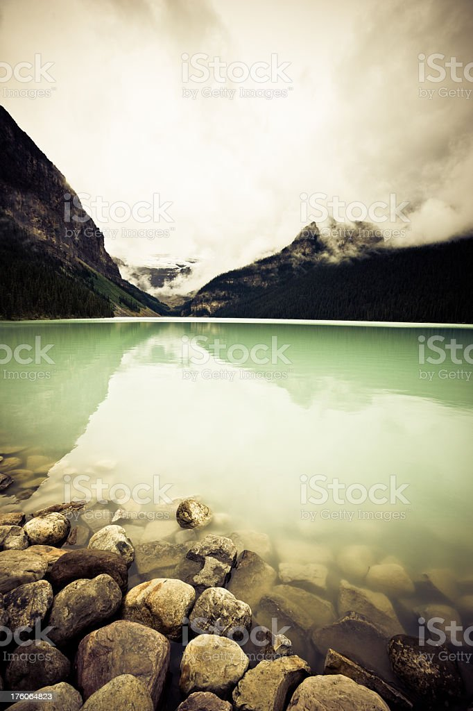 Moody Lake Louise Canada Rocky Mountains royalty-free stock photo