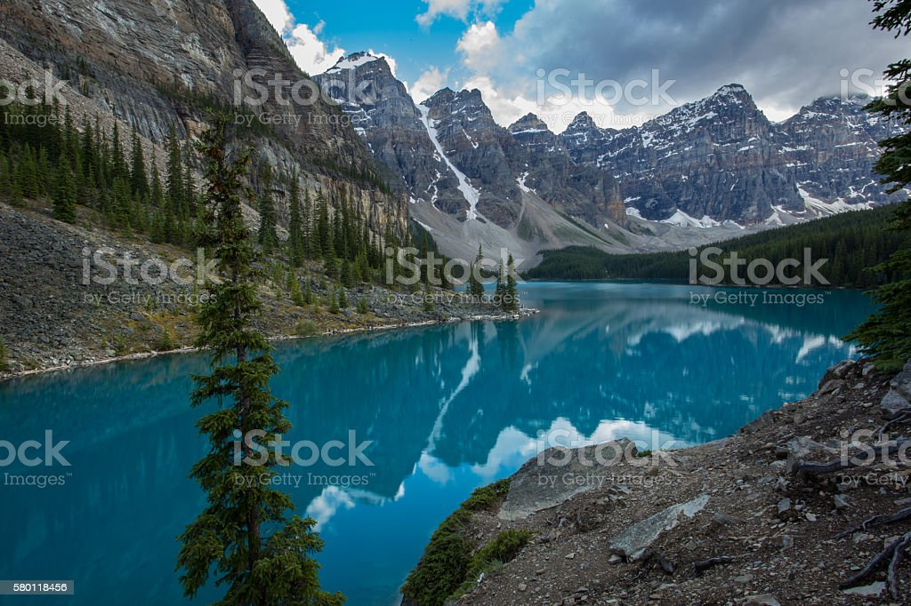 Moody Moraine Lake, Canada stock photo