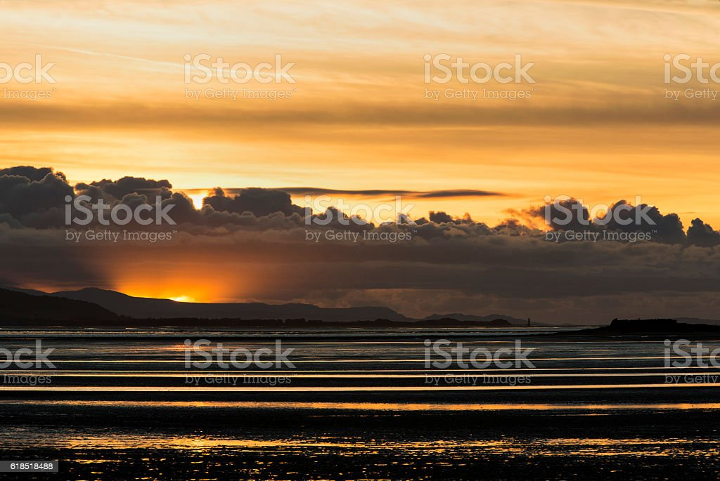 Moody North Wales Coast Sunset stock photo