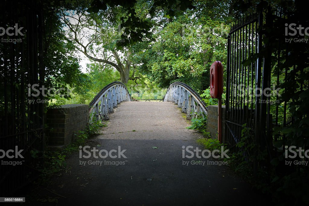 Moody old iron bridge surrounded by trees stock photo