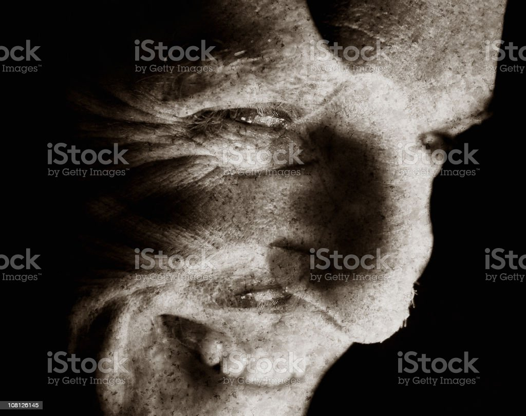 Moody Portrait of Man, Manipulated royalty-free stock photo
