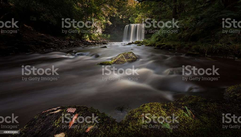 Moody Sgwd yr Eira Waterfall stock photo