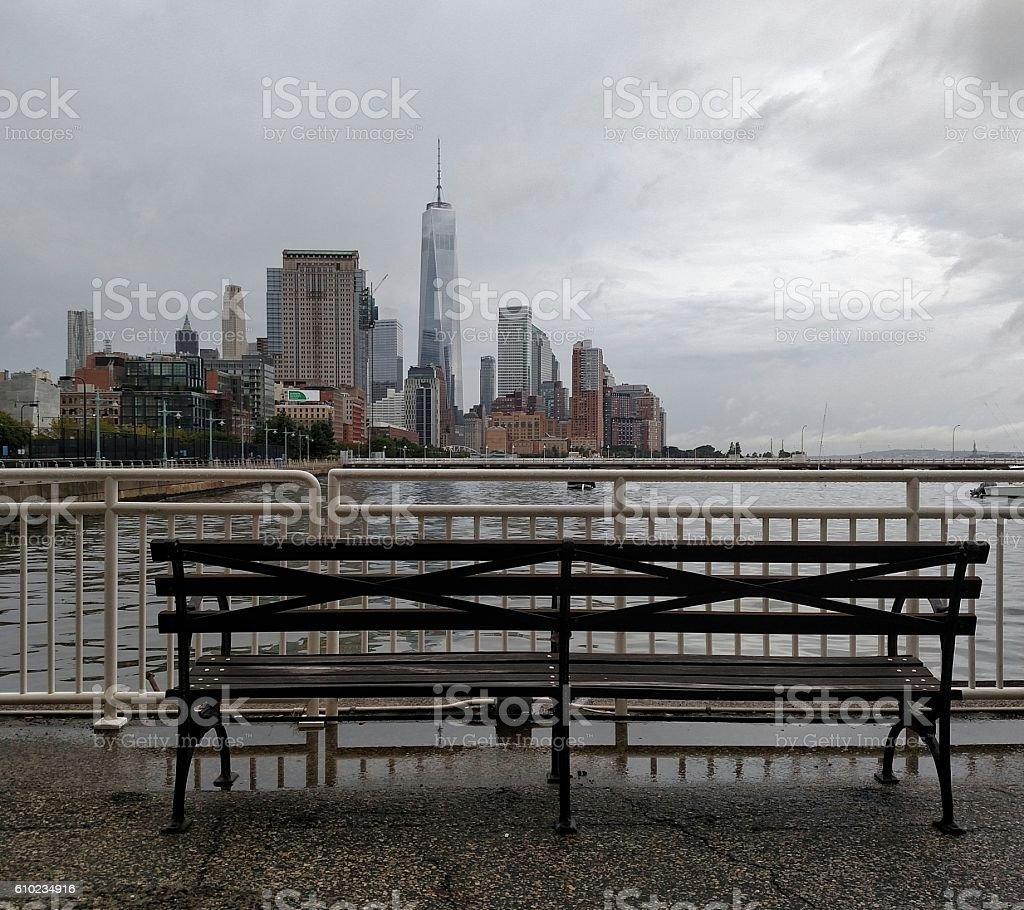 Moody skies over Manhattan stock photo
