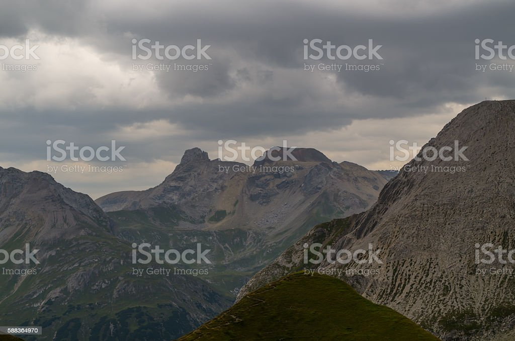 Moody sky in the mountains of Lechtal Alps, Austria stock photo