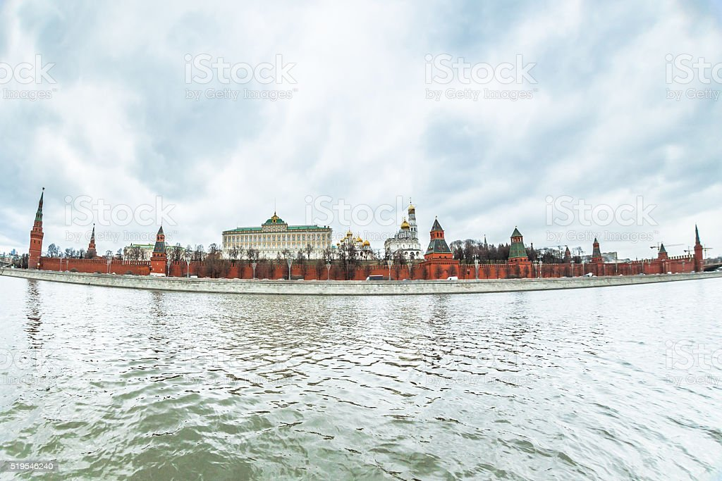 Moody Sky over Moskva River stock photo