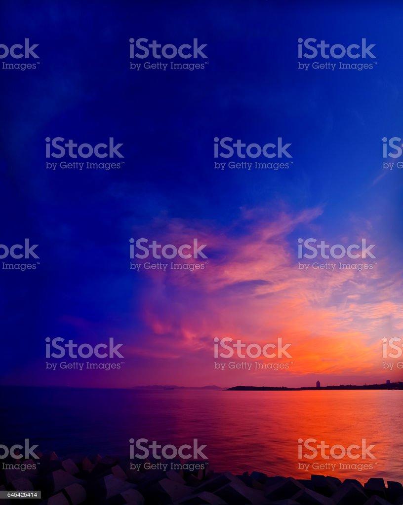 Moody sky sunset stock photo