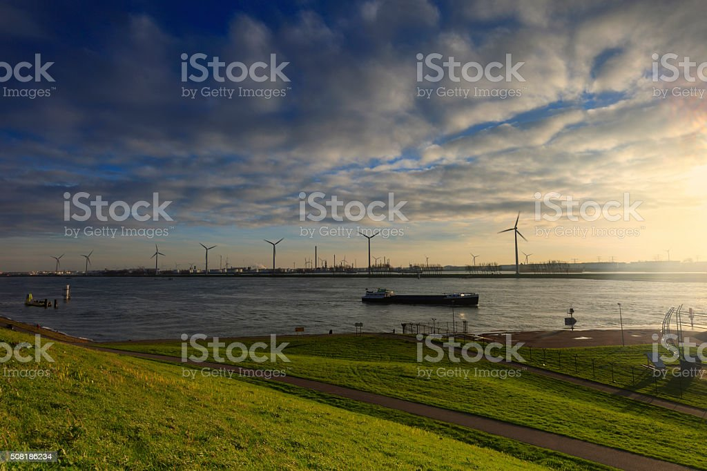 moody sunset at the Maeslant Storm Surge Barrier stock photo