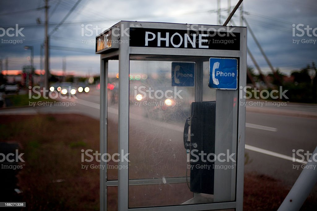Moody telephone booth stock photo