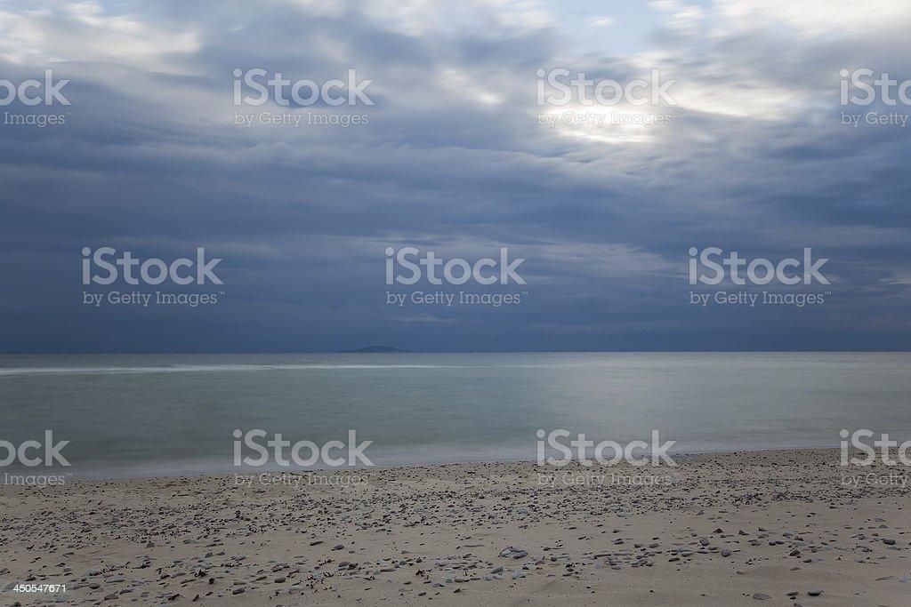 Moody Twilight scene with bad weather on the horizon stock photo