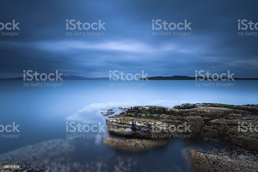 Moody Waters. Portencross, Scotland. stock photo